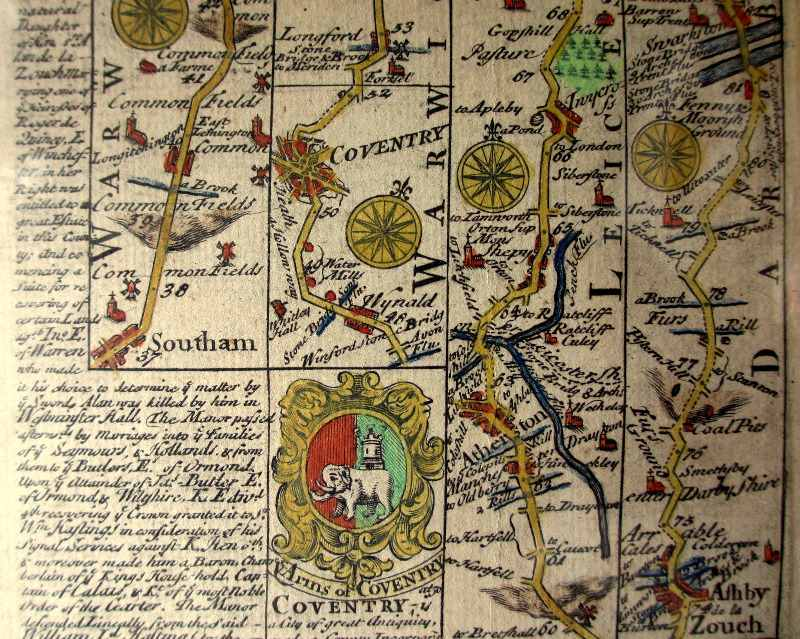 Bowen & Owen, Road from Oxford to Coventry and Darby, copper plate engraving, 1736.