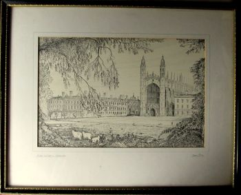 Kings College, Cambridge, etching signed Gwyn Jones and initials GJ. c1930.  SOLD  13.11.2014.