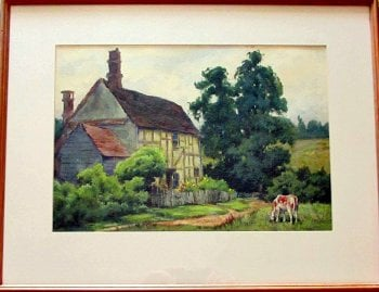 English Cottage, watercolour on paper, signed Dudley Tennant, c1930.