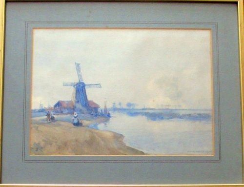 Dutch Estuary Scene, watercolour on paper, signed Arch Webb 1924.