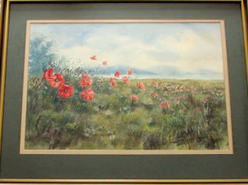 THE POPPY FIELD SUSSEX, WATERCOLOUR, SIGNED BY PHILIP WATTS c1970   SOLD  23.01.2015.