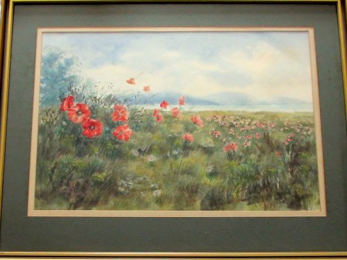 THE POPPY FIELD SUSSEX, WATERCOLOUR, SIGNED BY PHILIP WATTS c1970