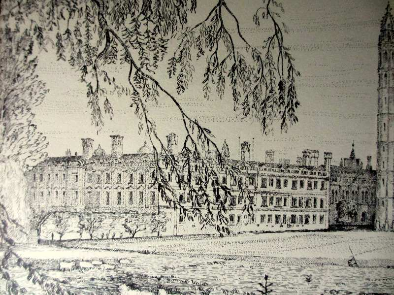 Kings College Cambridge, etching signed Gwyn Jones, c1930. Detail.