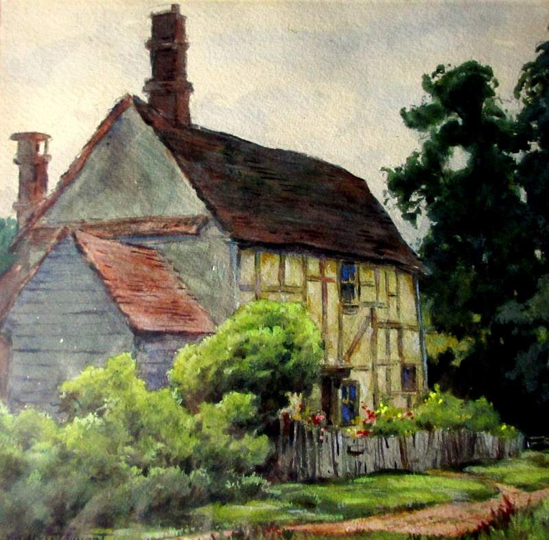 English Cottage, watercolour on paper, signed Dudley Tennant, c1930. Detail.