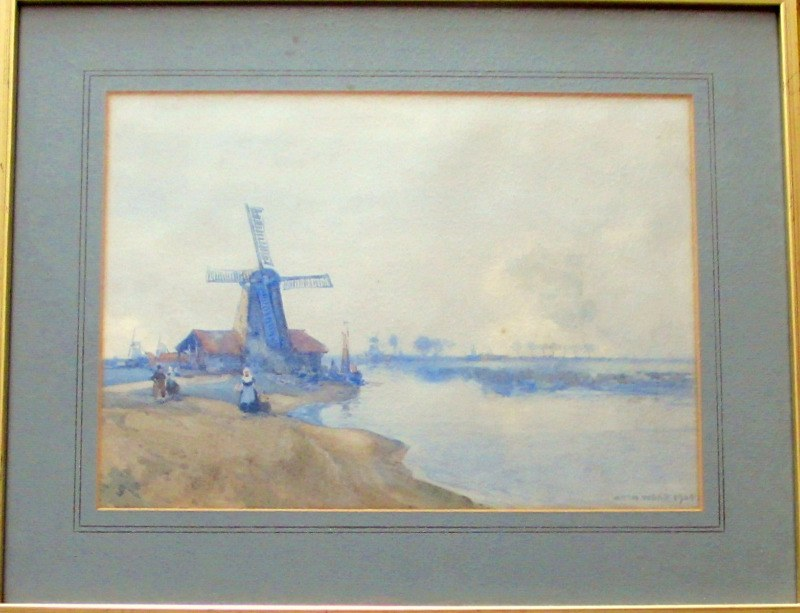Dutch Estuary Scene, watercolour signed Arch Webb 1924.