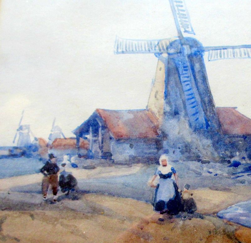 Dutch Estuary Scene, watercolour signed Arch Webb 1924. Detail.