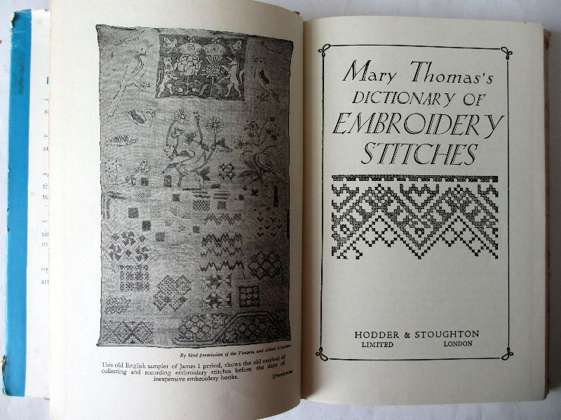 Mary Thomas's Dictionary of Embroidery Stitches, H&S, 1959. Title.