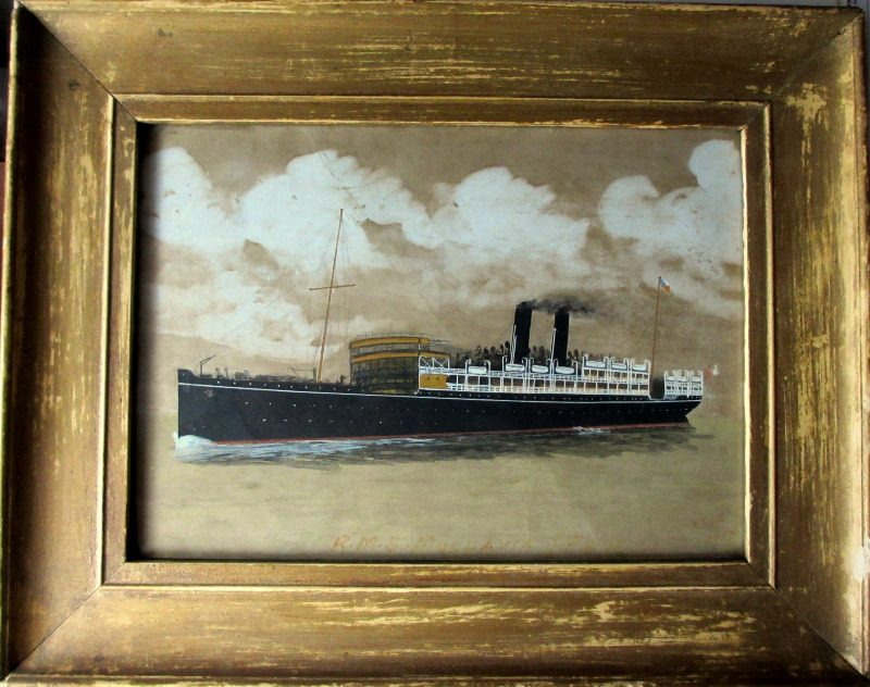 RMS Moldavia, gouache and watercolour, signed monogram C.WF 1917.