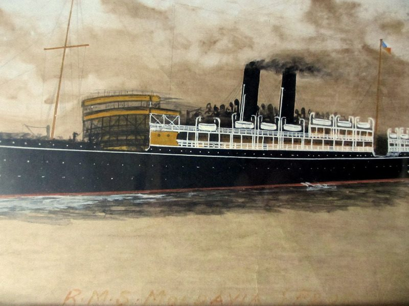 RMS Moldavia, gouache and watercolour, signed monogram C.WF 1917. Detail.