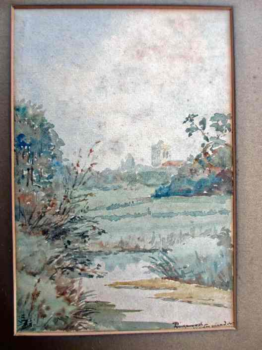 Ringwood Church viewed from Watermeadows, watercolour, signed monogram RE 1930.