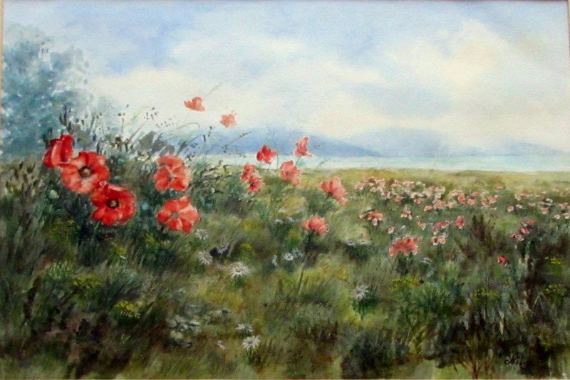 The Poppy Field, Sussex, watercolour on paper, signed Philip Watts, c1970.