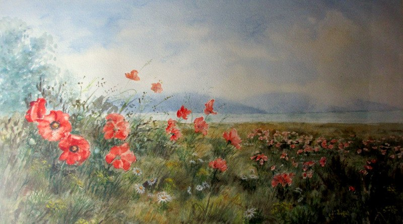 The Poppy Field, Sussex, watercolour on paper, signed Philip Watts, c1970. Detail.
