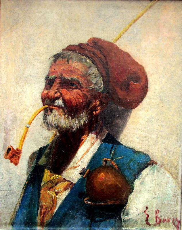 Portrait study of a Sardinian Shepherd, oil on canvas, c1900.