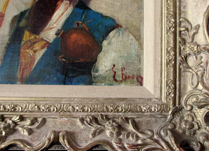 Portrait study of a Sardinian Shepherd, oil on canvas, c1900. Detail.