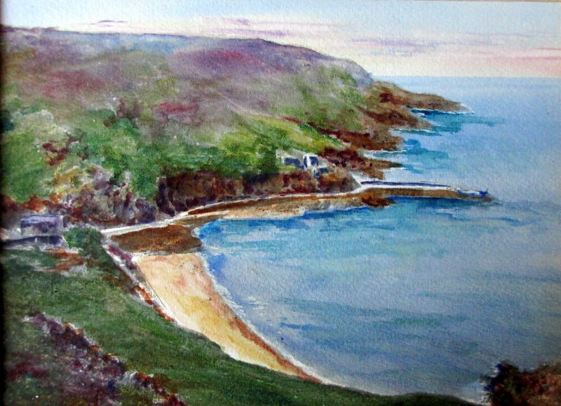 Bouley Bay, Jersey, watercolour on paper, attributed to Garman Morris. c1930.