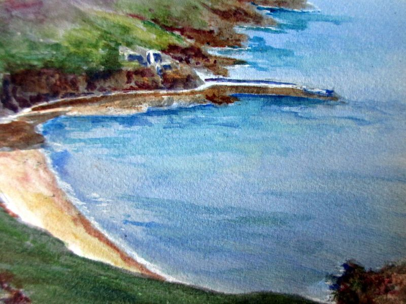 Bouley Bay, Jersey, watercolour on paper, attributed to Garman Morris. c1930. Detail.