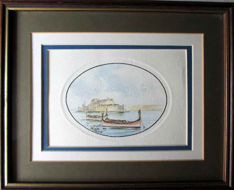 Boats in the Grand Harbour Valletta, watercolour on paper,  signed Aldo Galea 1989.