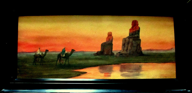 Camels Passing the Colossi of Memnon at Sunset, watercolour, c1900.