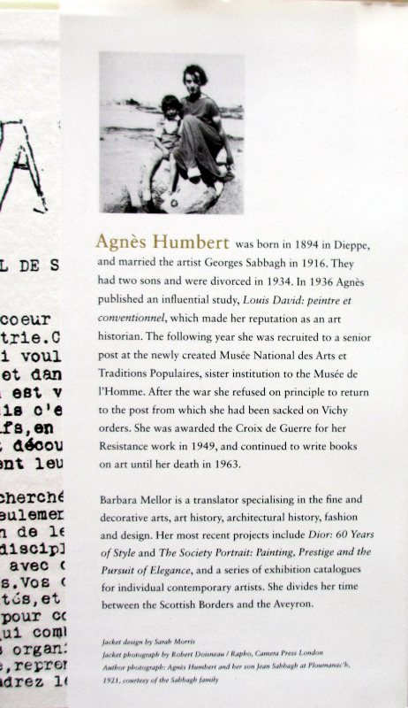 Resistance. Memoirs of Occupied France. Agnes Humbert, 2008. Back DJ. Back fold.