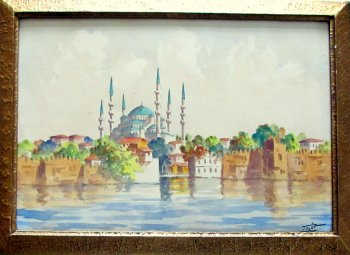 Sultan Ahmet Camii, Blue Mosque, Istanbul, watercolour signed Talat. c1900.