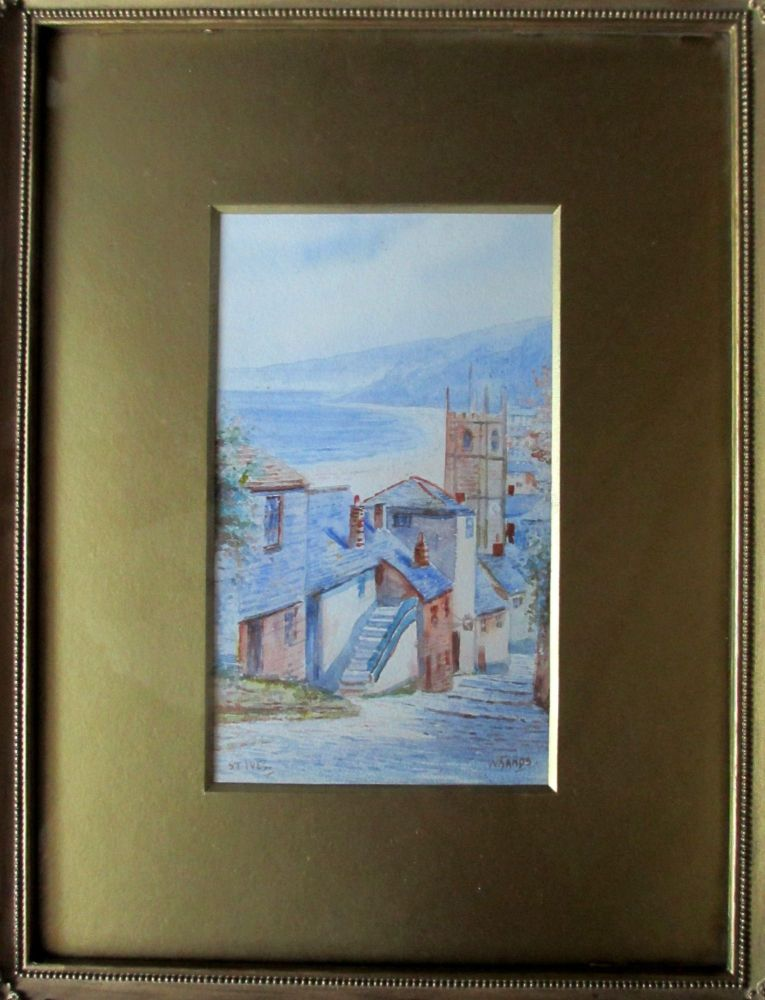 St. Ives, watercolour on paper, signed W. Sands, c1920.