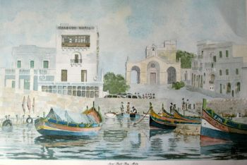 Saint Paul's Bay, Malta, signed J. Pace. Lithograph. c1970.