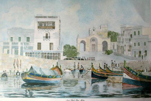 Saint Paul's Bay, Malta, signed J. Pace. Lithograph. c1970.