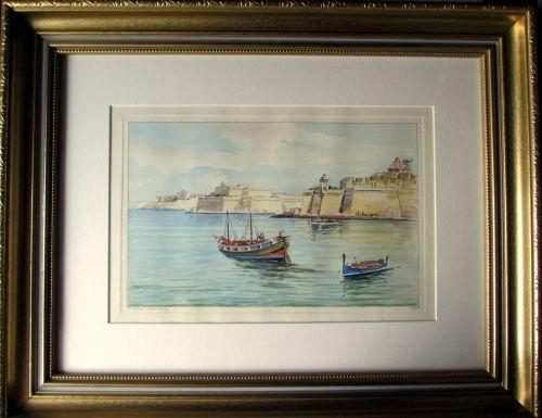 Grand Harbour, Malta, watercolour, Joseph Galea 1967.