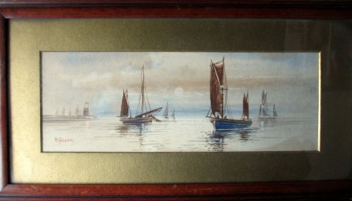 Boats Fishing off the Coast, watercolour, signed M. Farquhar, c1880. Antiqu