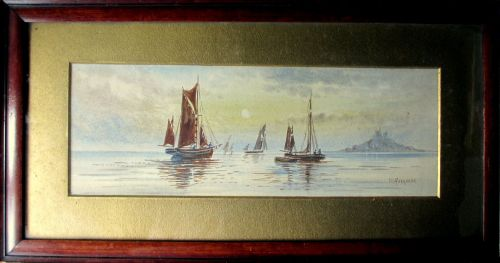Fishing Boats off St. Michael's Mount, watercolour, signed M. Farquhar, c18