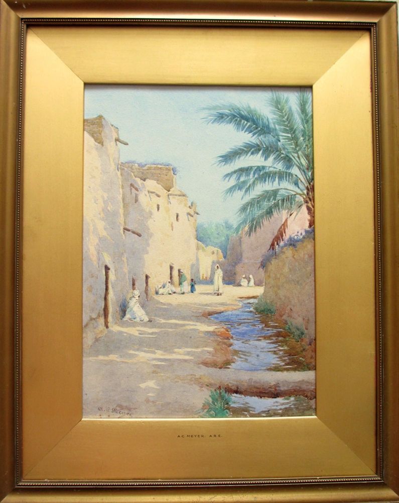 Orientalist Iraqi Street Scene with Figures, watercolour, signed A.C. Meyer