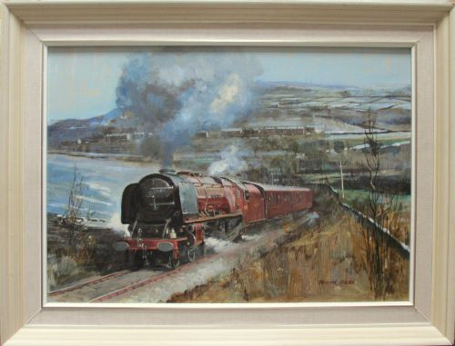 Stanier 8P, 4-6-2, 46229 Duchess of Hamilton, on the KWV Railway, oil on bo