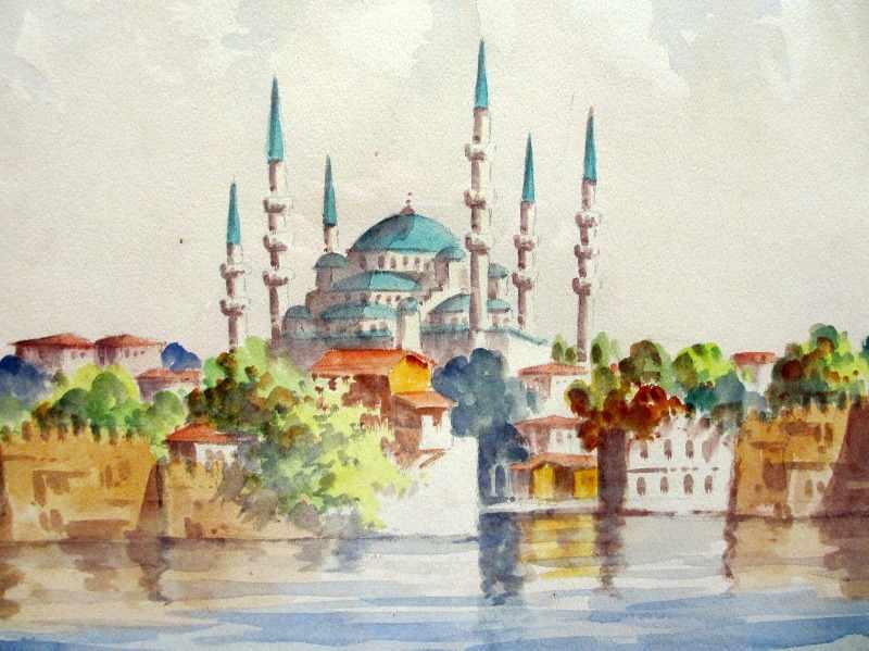 Sultan Ahmet Camii mosque, Istanbul, watercolour, signed Talat. c1900.