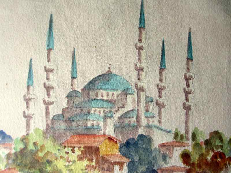 Sultan Ahmet Camii mosque, Istanbul, watercolour, signed Talat. c1900. Detail.