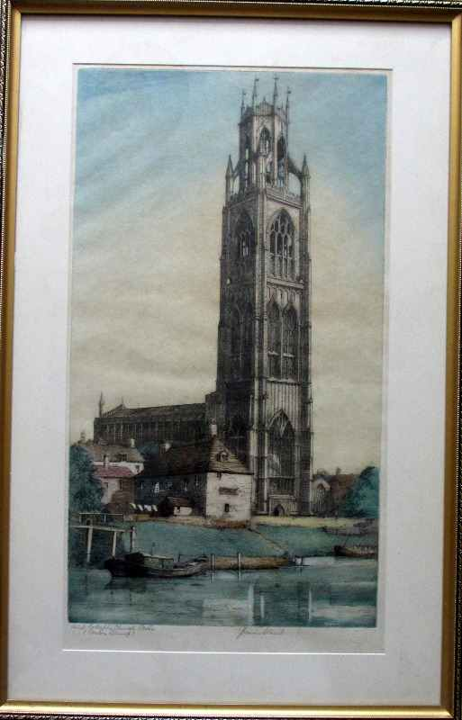 Saint Botolph's Church Boston (Boston Stump), coloured etching, signed J. Lewis Stant, c1935.