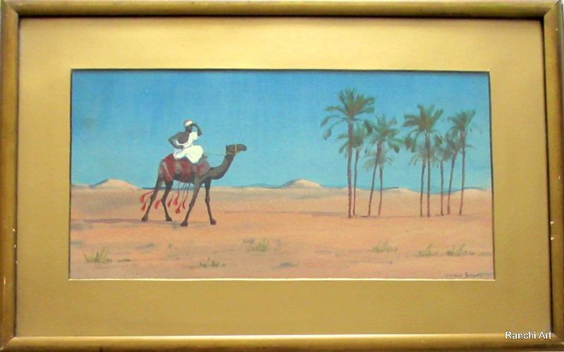 Camel and Rider in Desert Landscape signed Giovanni Barbaro. c1900.