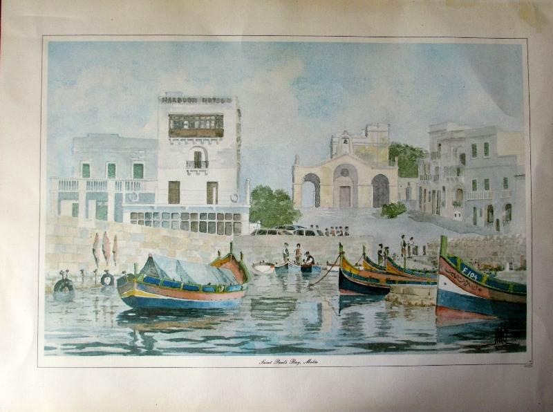 Saint Paul's Bay Malta, lithograph, signed J Pace, c1970.