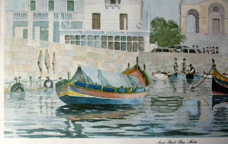Saint Paul's Bay Malta, lithograph, signed J Pace, c1970. Detail.