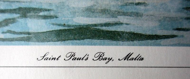 Saint Paul's Bay Malta, lithograph, signed J Pace, c1970. Detail. Title.