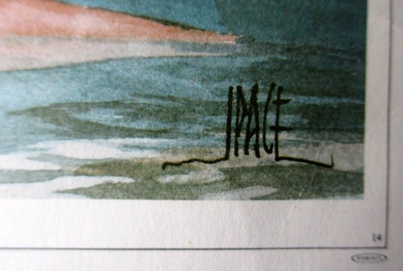 Saint Paul's Bay Malta, lithograph, signed J Pace, c1970. Detail. Signature.
