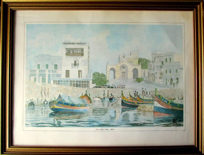 Saint Paul's Bay Malta, lithograph, signed J Pace, c1970. In situ.