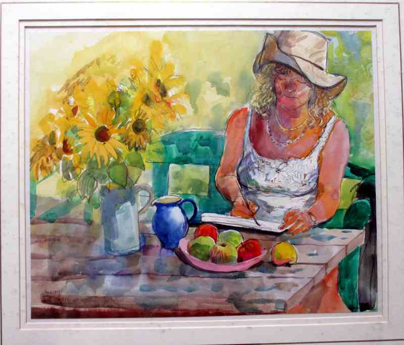 Valerie Painting Sunflowers, watercolour and pastel on paper, signed Stubley. c1990.
