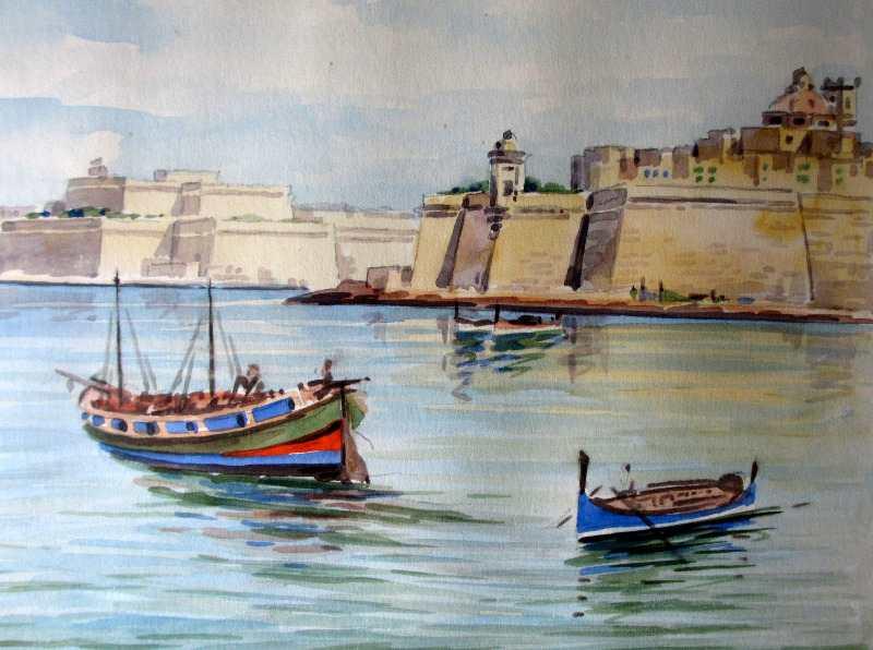 The Grand Harbour, Valletta, Malta, watercolour, Joseph Galea 1967. Detail.