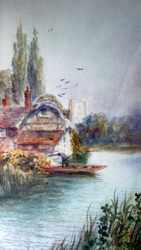 On the Boat, watercolour on paper, signed A. Turner, c1880. Detail.