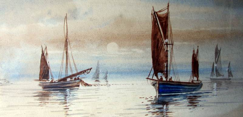 Boats Fishing off the Coast, watercolour on paper, signed M. Farquhar, c1880.