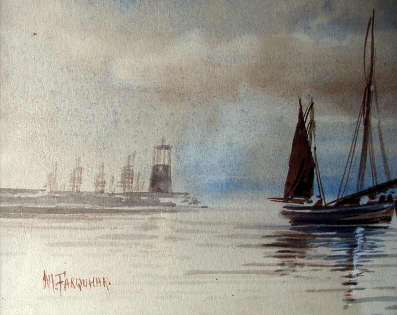 Boats Fishing off the Coast, watercolour on paper, signed M. Farquhar, c1880. Detail.