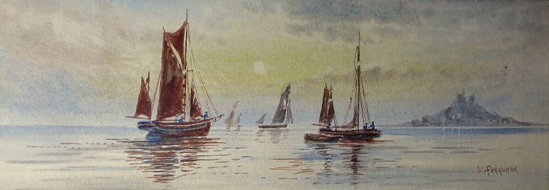 Fishing Boats off St. Michael's Mount, watercolour, signed M. Farquhar, c1880.