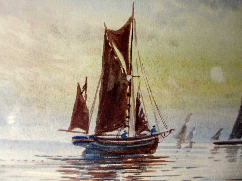 Fishing Boats off St. Michael's Mount, watercolour, signed M. Farquhar, c1880. Detail.