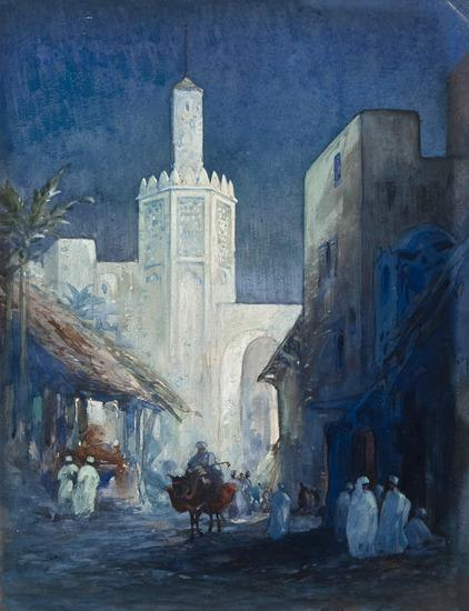 Moonlit Gateway of a North African Town, watercolour heightened with body white on art board, unsigned. Follower of Foweraker.