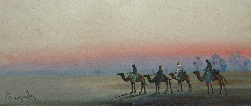 Camel Train at Sunset, gouache on paper, c1900, signed by follower of A.O. Lamplough.
